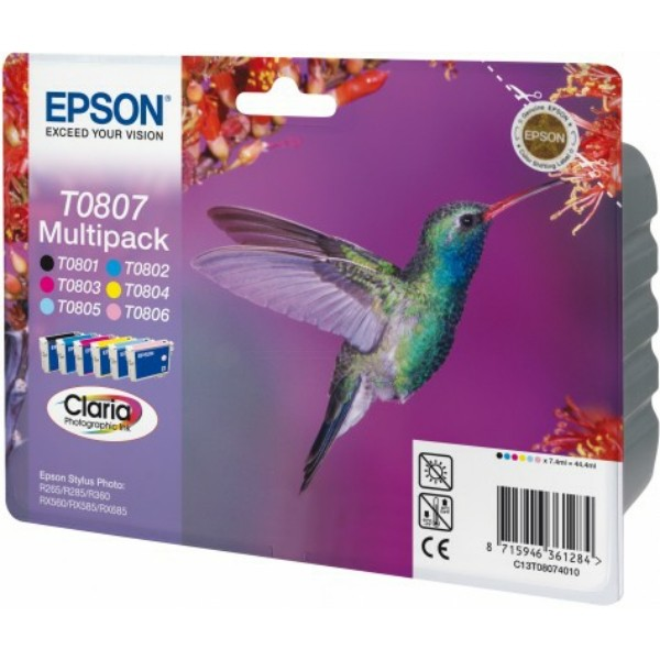 Epson Tintenpatrone T0807 BK,C,M,Y,PC,PM C13T08074010 Multipack