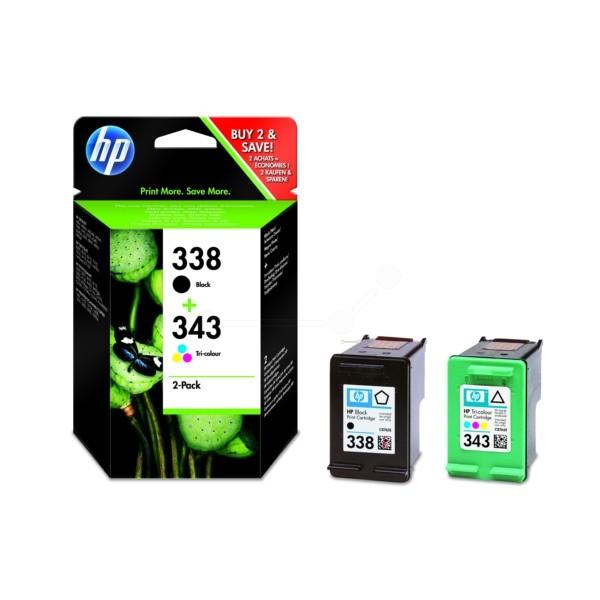 HP Tintenpatrone Nr. 338 + 343 schwarz + color SD449EE Multipack