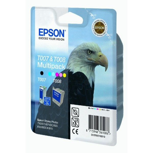 Epson Tintenpatrone T007 schwarz + T008 color C13T00740310