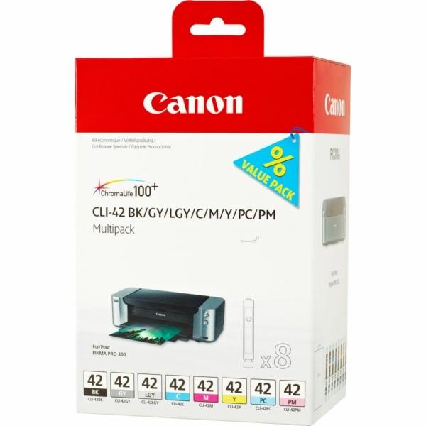 Canon Tintenpatrone CLI-42 BK,C,M,Y,LC,LM,GY,LGY 6384B010 Multipack